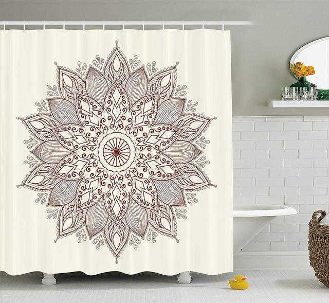 Beige Shower Curtain Mandala Flower Ethnic Lace Circle Ornate Retro Eastern Universe Artistic Fabric Bathroom Decor With Hooks