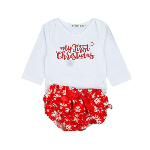 Christmas baby girls clothes set 2018 Newborn infant Baby First Christmas clothes Baby Girls letter Romper Jumpsuit+Shorts