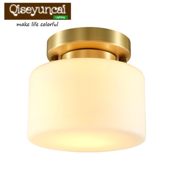 Qiseyuncai 2018 new American restaurant all copper small ceiling lamp round living room aisle corridor lighting