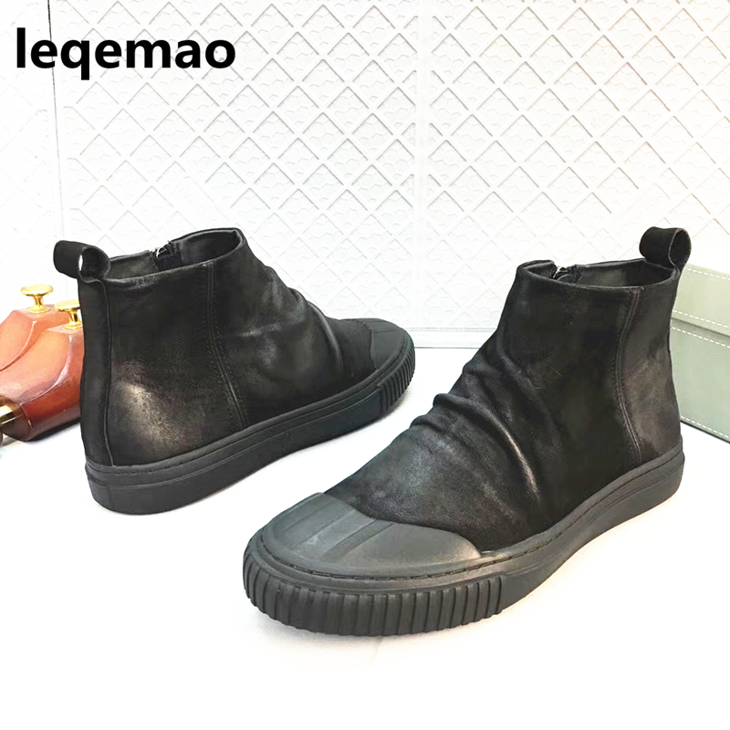Hot Sale Spring Autumn Men Comfortable Zipper Designer Man Casual Shoes Genuine Leather Boots Leqemao brand Shoes Size 38-44 mens casual leather shoes hot sale spring autumn men fashion slip on genuine leather shoes man low top light flats sapatos hot