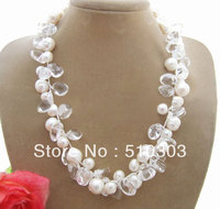 Beautiful White Pearl Crystal Necklace Free Shippment