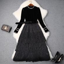 Patchwork signore Vestito di Primavera 2019 nuovo Superiore del vestito di qualità per le donne elegante Vintage Casual Impero maniche Lunghe abiti xl
