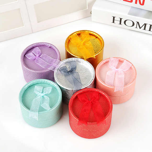 New 1PC Elegant Round Earring Rings Box Bowknot Jewelry Organizer Box Holder Wedding Engagement Gift Package Box Display