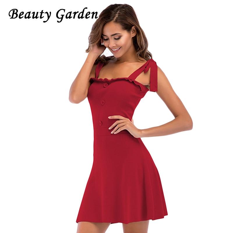 Beauty Garden Women Solid Sexy Summer Dress Sleeveless Mini Length Spaghetti Strap Fashion Buttons Ruffles Dress For Women