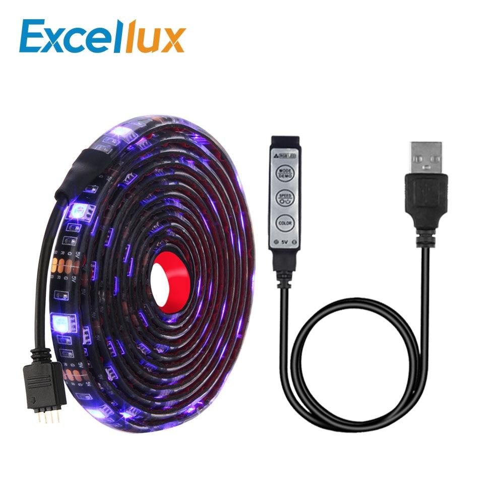 5V USB LED Strip 5050 Mini 3Key Controller Flexible RGB Led Strip Light Monitor TV Computer Background Light Waterproof 1M Or 2M