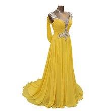 فساتين وصيفة العروس الشيفون الأصفر الساحرة 2020 بدون ظهر كريستال مطرز لحفلات الزفاف فستان خادمة الشرف الرسمي برقبة على شكل V