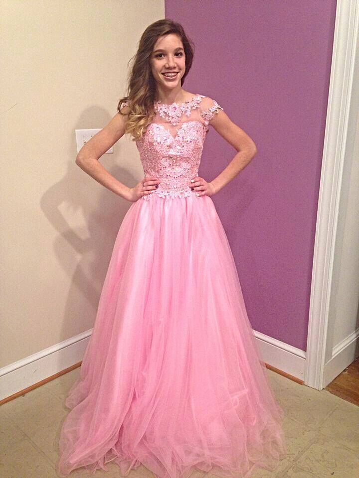 2015 New Arrival Hot sale pink long prom dresses Short Sleeve A Line ...