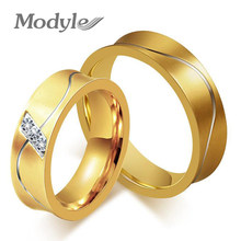 Korea Personalized Jewelry Fashion Jewelry Couple Rings Zircon Ring for Women and Men Titanium Steel Ring(China)