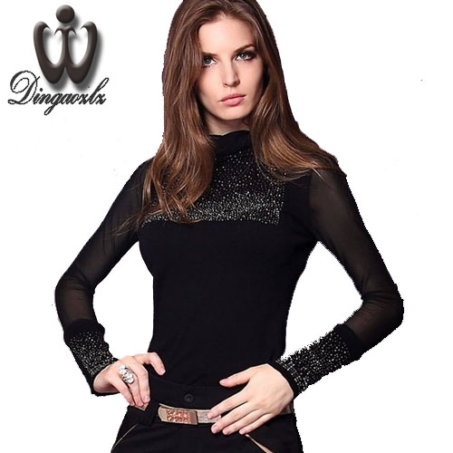 New Fashion Spring Autumn 2015 Gauze Knitted T Shirt Women Rhinestones All Match Turtleneck Long Sleeve