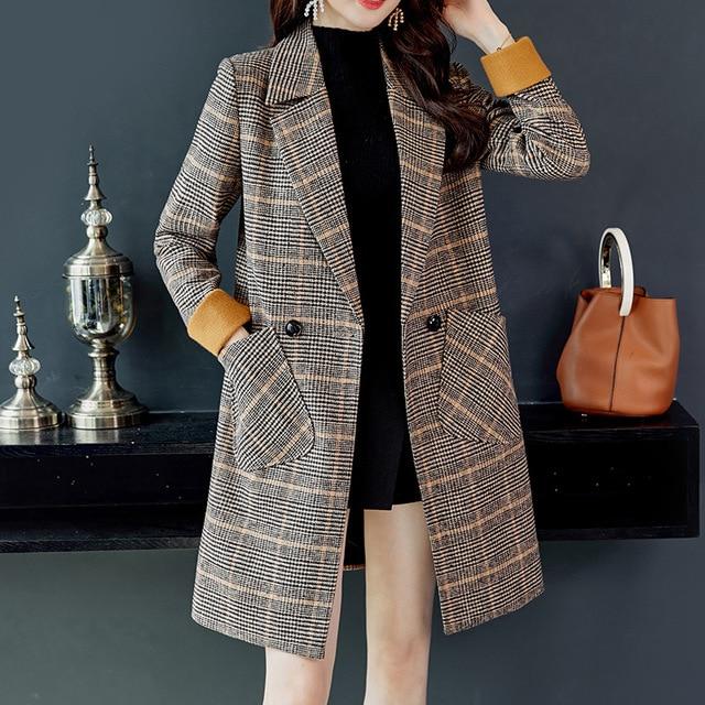 2019 Autumn Winter Wool Women Coats Jackets Plaid Pockets Blends Office Work Long Coats Lady Slim