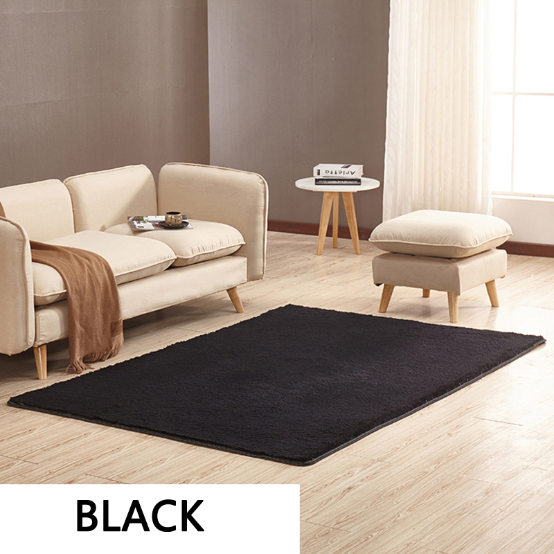 EHOMEBUY New Arrival Rugs Solid Color Black Rectangle 14 Sizes Rugs Floor Carpets For Living Room Bedroom Short Haired Carpet