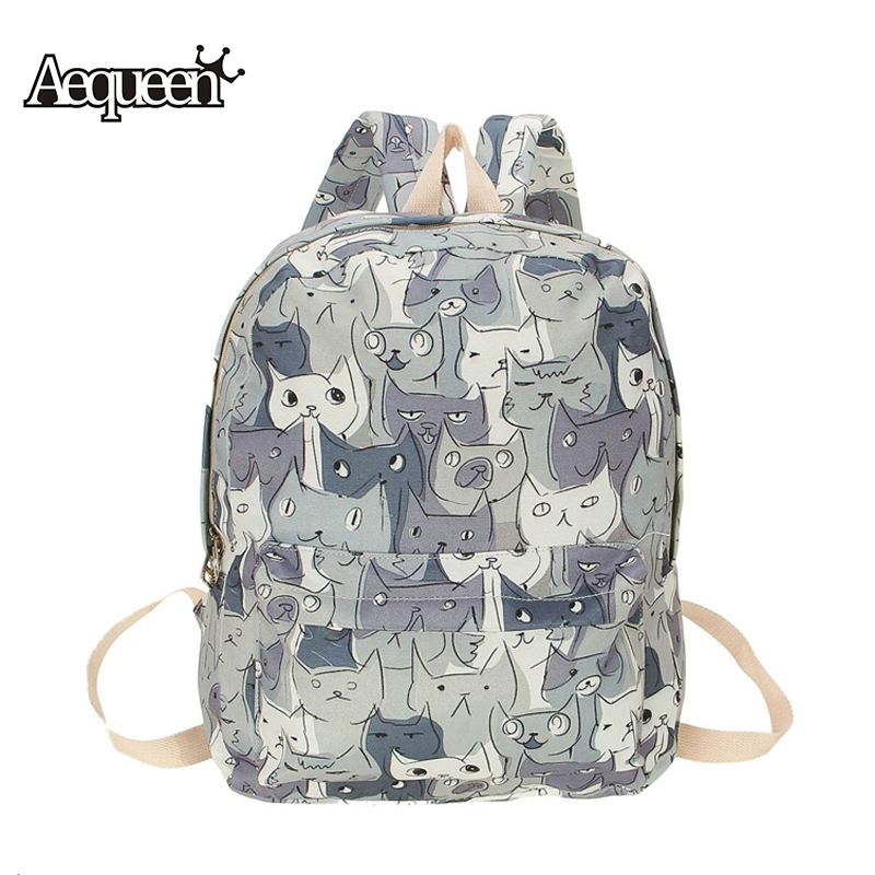 AEQUEEN Cute Cat Canvas Backpack Women Rucksack College Back to School bags for Teenagers Girls Large Capacity printing backpack
