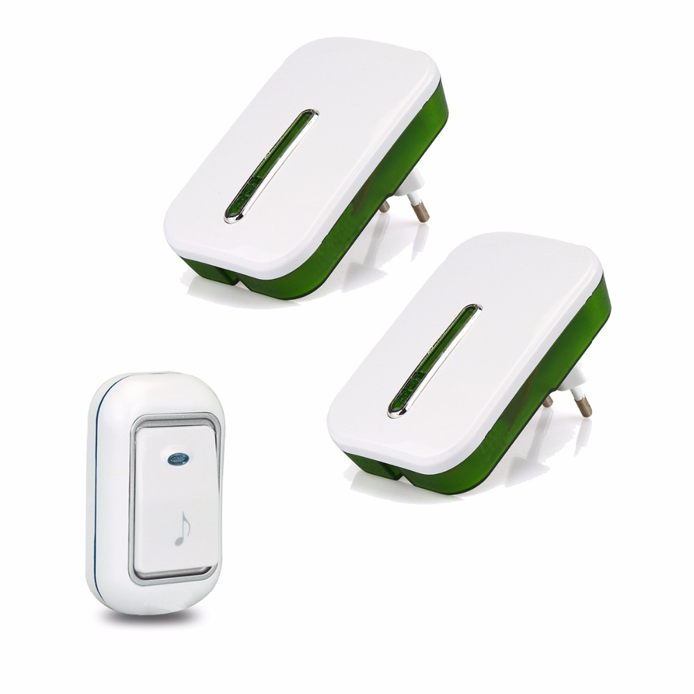 Wireless Doorbell 2 Receiver+ 1 Transmit Chime Kit 51 Chimes Remote Button With Receiver LED Indicator For Home Security F1762B receiver