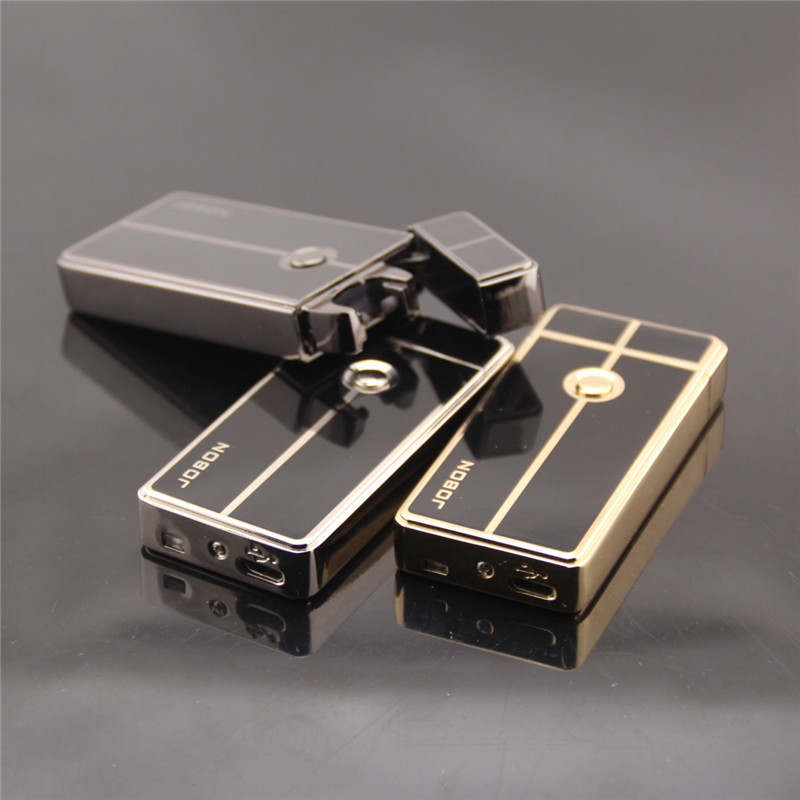 New Arrival Windproof Ultra-thin Metal Electric Arc Pulse Lighters Rechargeable Flameless Electronic Lighters