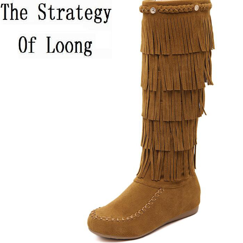 Women Genuine Leather Fringe Flat Half Boots Fashion Traditional National Boots Real Leather Zip Snow Boots 20161220