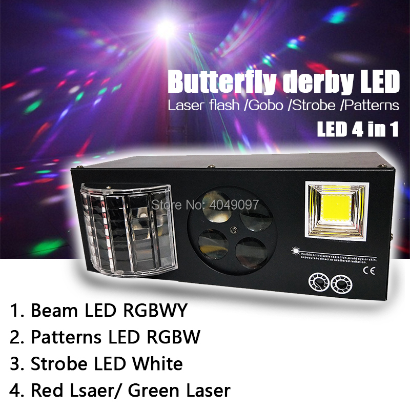 LED 4 in 1 butterfly derby light Laser flash Gobo Strobe light DMX512 Disco Club Party