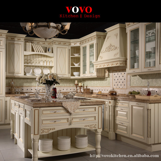 Online Shop Latest white wooden kitchen furniture with gold trimming ...