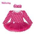 Primavera impressão de bolinhas baby girl dress trajes de algodão de manga longa de crianças de algodão meninas recém-nascidas tutu dress com ruffle lace yi
