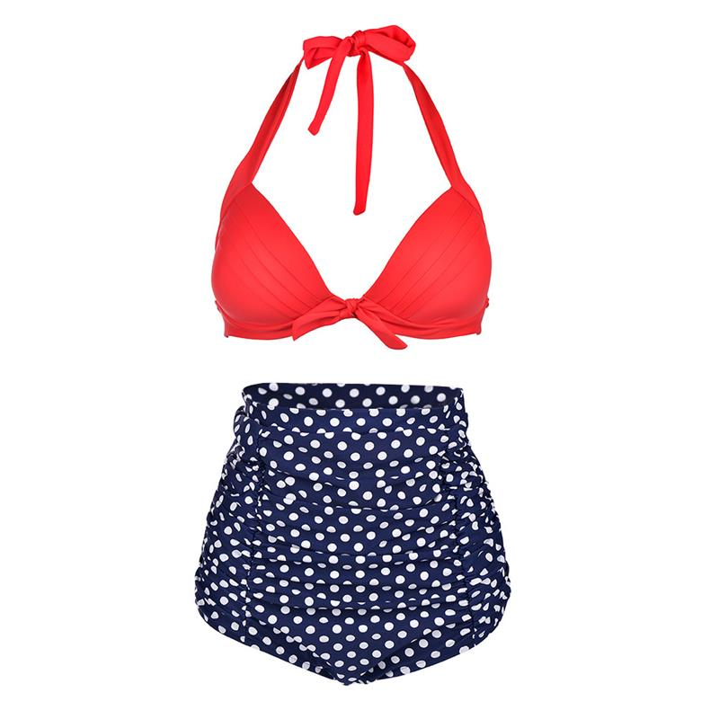 01a443c9081c2 Vbiger Women High Waist Bikini Set Sexy Dot Plus Size Swimsuit Beach  Bathing Suit Halter Swimwear Tankinis XXXL-in Bikinis Set from Sports    Entertainment ...