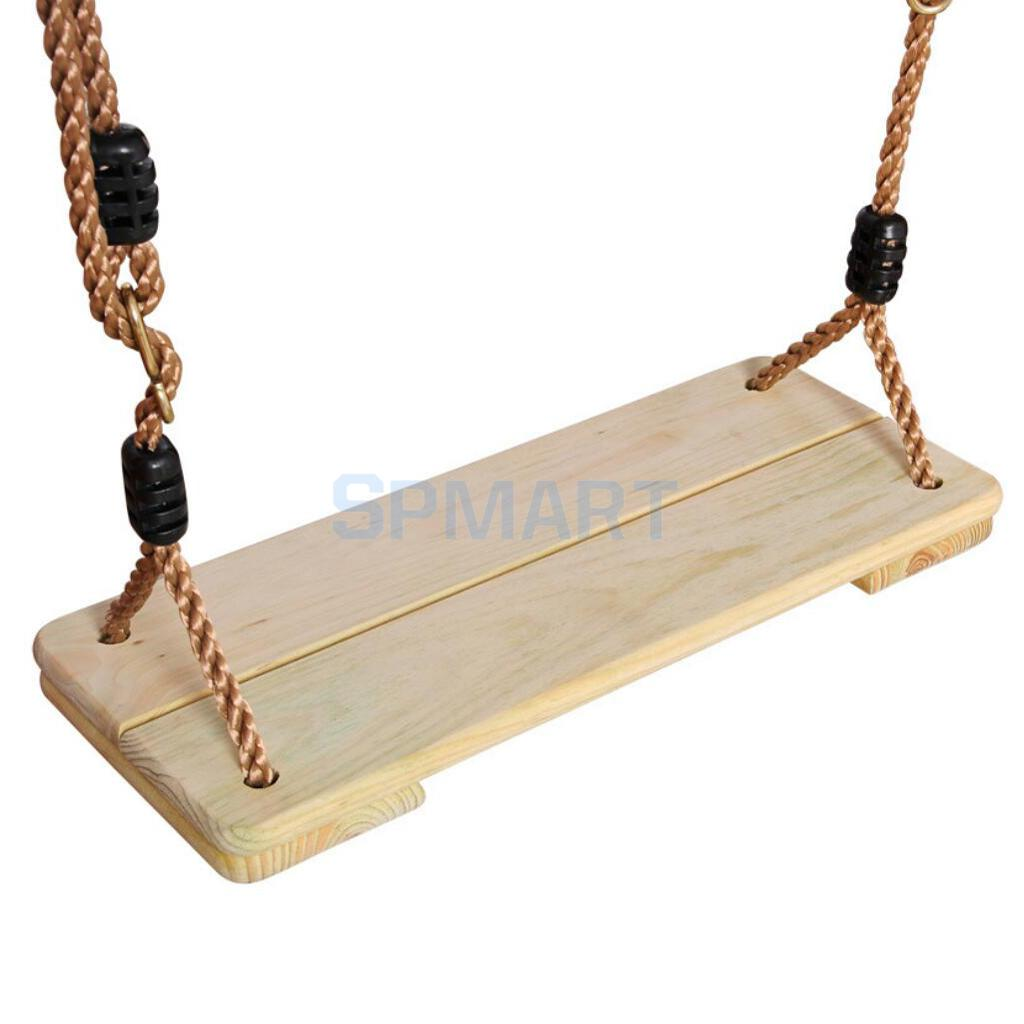 Kids Indoor Outdoor Wooden Flat Swing Seat Backyard Garden Fun Playground Swingset Toy