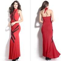 VECARDI Moda uzun elbise Seksi sıkı elbise kırmızı kadın yaz zarif kolsuz akşamları parti uzun fishtail elbise giysi
