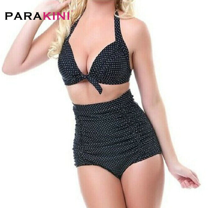 PARAKINI 2018 New Plus Size Bikinis Set Retro High Waisted Push Up Swimsuit Women Sexy Bathing Suits Beach Wear Swimwear 3XL da hai 2017 new sexy bikinis women swimsuit high waisted bathing suits swim halter push up bikini set plus size swimwear 3xl