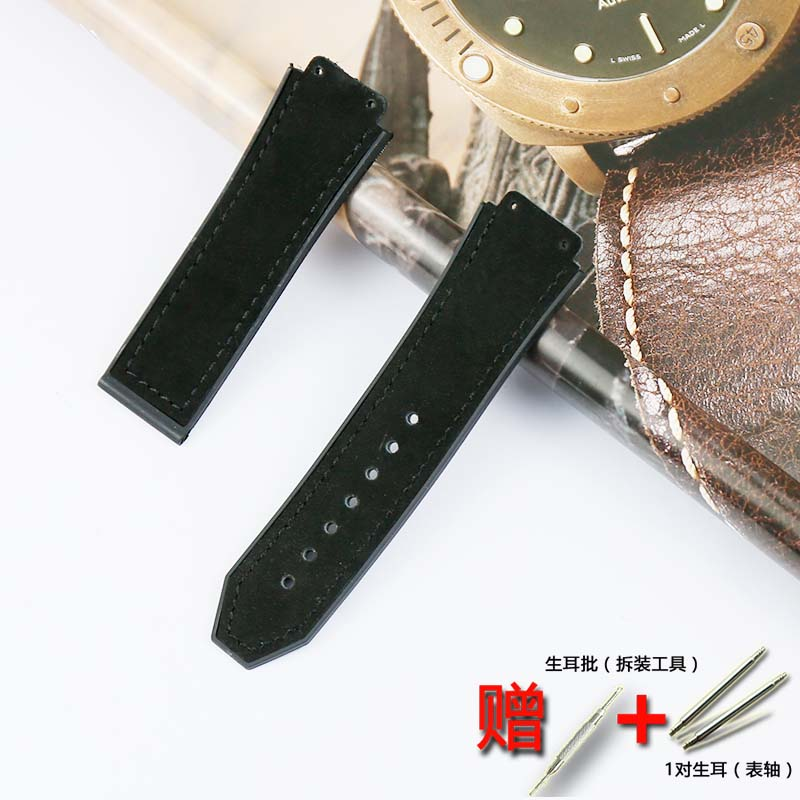 Купить с кэшбэком Watch Accessories Crazy Horse Leather Strap Folding Buckle Rubber Strap19mmx25mmFor Hublot Big Bang Women's and Men's Watch Band