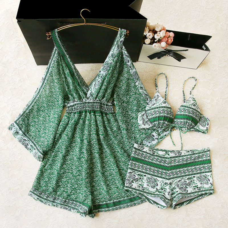 Push Up maillot de bain femme 2018 tankini Set Swimsuit Women Swimwear Plus 3 Piece Suits Print Bathing Suit Beach Wear Swim plus leaf print button up pajama set