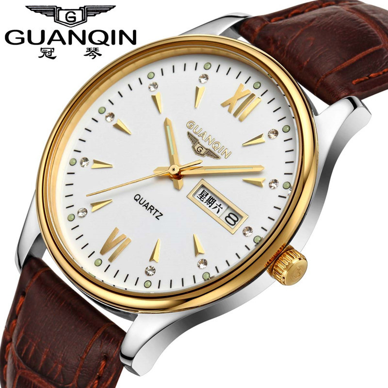 ФОТО 2017 Men Watch Brand GUANQIN Quartz Watch With Luminous Date Week Display Waterproof Leather Strap Clock  relogios masculinos