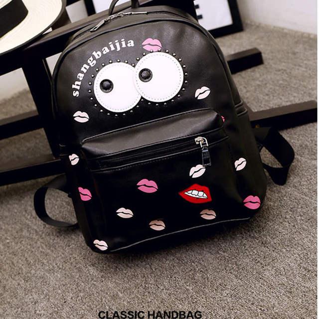 placeholder PU Leather Women Backpack Cartoon Big Eye Cute Bag for Girls  Kids Fashion School Bags Children 0cb56a01953c5