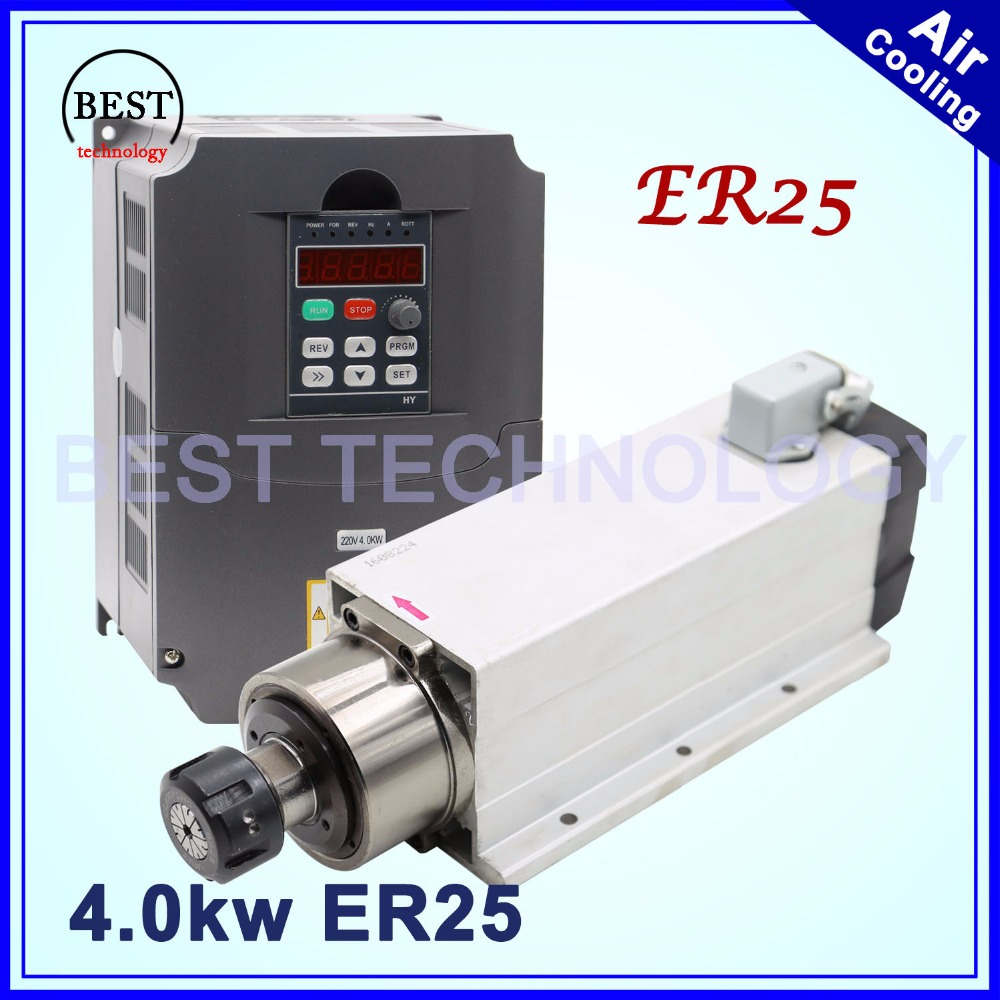 New arrival 4kw ER25 air cooled spindle motor air cooling 18000rpm 4 0kw 4 bearings 220v