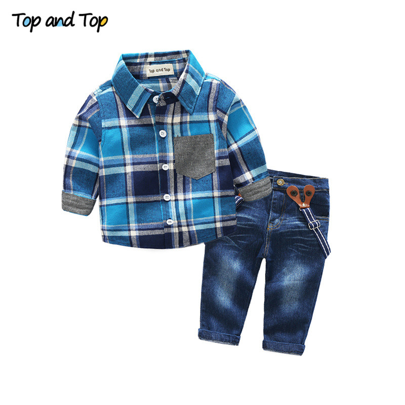 Top and Top Fashion Kids Clothes Casual Boy Clothes Autumn Boys Clothing Set Gentleman Suit Plaid Long Sleeve Children Clothing диск replay lx51 7 5x18 6x139 et25 0 sil