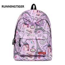 e18510b503a1 RUNNINGTIGER Pink Eiffel Tower Print Backpack Women Casual Rucksack Canvas  School Backpack for Teenage Girls Mochila