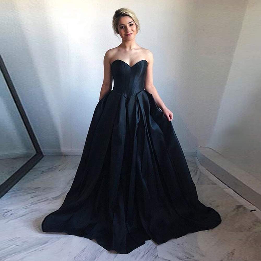 2019 New Special Occasion   Dress   Gowns Navy Blue Satin   Prom     Dresses   Long Sweetheart sleeveless A line Elegant   Prom   Party   Dress
