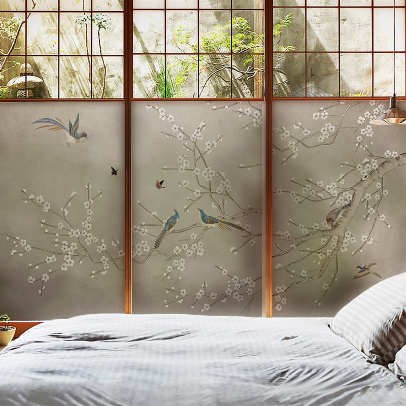 Scrub Electrostatic Beijiao Flower and Bird Figure Sliding Door Window Waterproof Sunscreen Anti - Transparent Foam Film Sticker