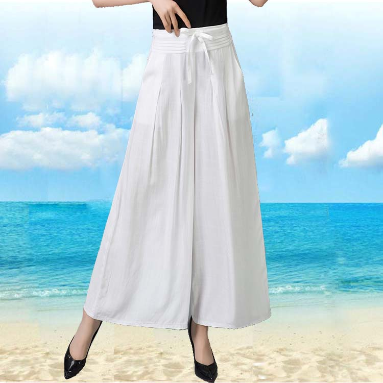 Woman Summer Plus Size Solid High Elastic Waist Ankle-length   Pants     Wide     Leg     Pants   Female Thin Loose Flax   Wide     Leg   Trousers