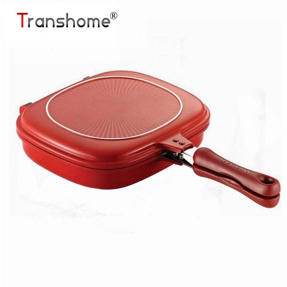 Transhome Frigideira 28 cm Lateral Dobro Grill Pan Panelas de Aço Inoxidável de Dupla Face Pan Ovos Bife Frigideira Cozinha acessórios
