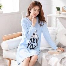 Autumn New Women sleepwear Cotton Printed Round Neck Long Sl