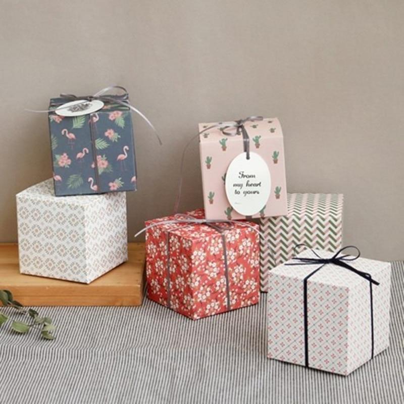 6 шт./лот 9*9*9 см квадратный Подарочная коробка конфет Цветок Птица Фламинго Cake Box Шоколад коробка для печенья вечерние Свадебный декор