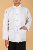 Shanghai Story Men's Long Sleeve Linen Shirt Chinese Traditional Clothing For Man White Chinese Top