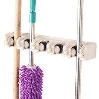 Hoge Kwaliteit Keuken 5 Positie Wandmontage Hanger Opslag Mop Broom Holder Tool Plastic Borstel Bezem Organizer