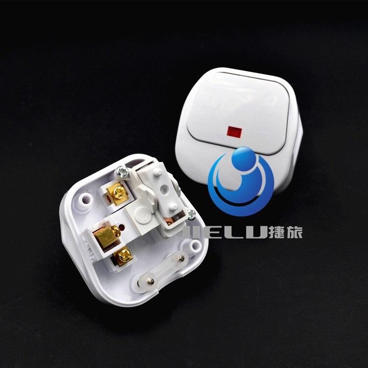 13A 250v,UK/Ireland/Malaysia/Singapore Travel Adapter AC Power Plug Convert World Plug With LED Mian Switch,50 pcs ac 250v 13a white rewirable connector head uk plug
