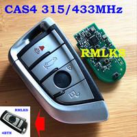 4 Buttons 315MHz 433MHz Remote Key Keyless Entry Key Fob For BMW F CAS4 5 7 Series X5 X6 2014 2015 2016 With Uncut Insert Key