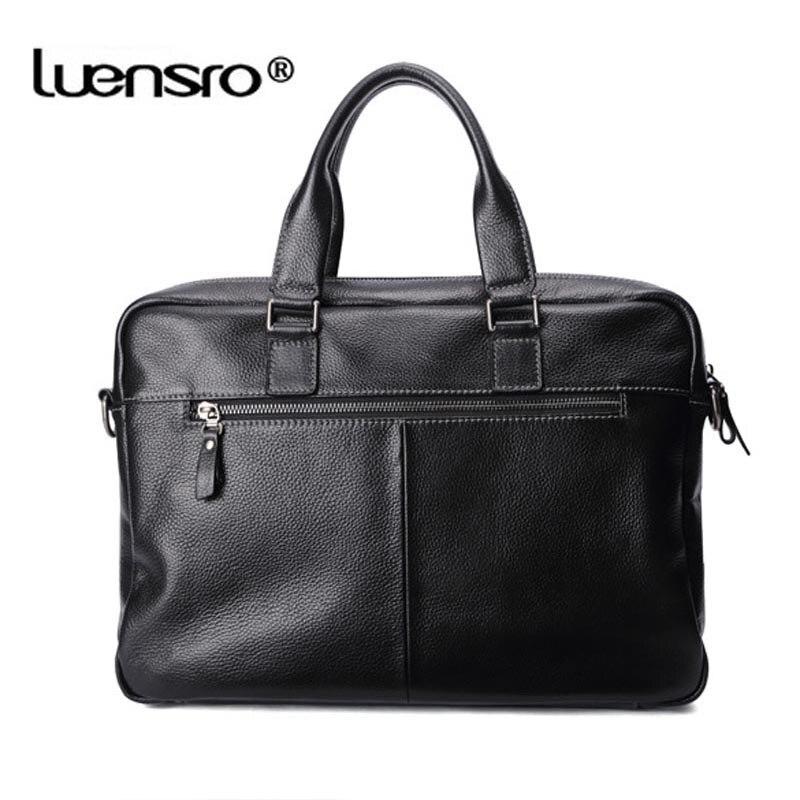 Männer Laptop 100 Schulter Black Tasche Kapazität Luensro Aktentasche Große Leder brown Echtem Business coffee Mode blue Schwarz Männlichen COxntqw