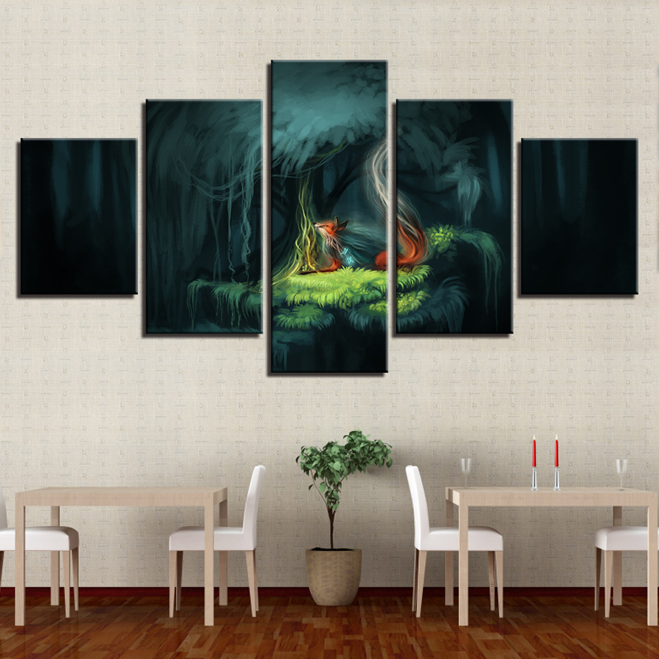 Modular Canvas Hd Print Pictures Home Decor  Piece Fox Magic Garden Of Eden Fantasy Forest Night Painting Wall Art Poster Frame In Painting Calligraphy