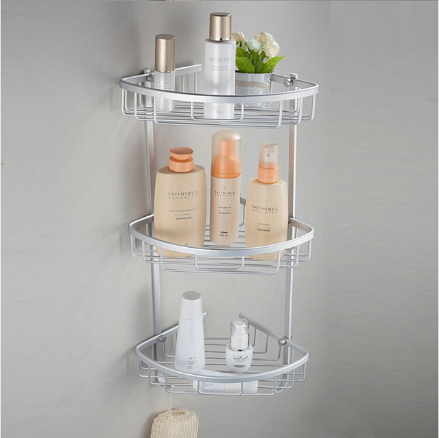 2015 Space aluminum Bathroom Shelves corner shelf bath storage rack ...