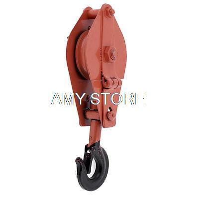Red Swivel Single Lifting 500Kg Limit Metal Sheave Block Rope Pulley