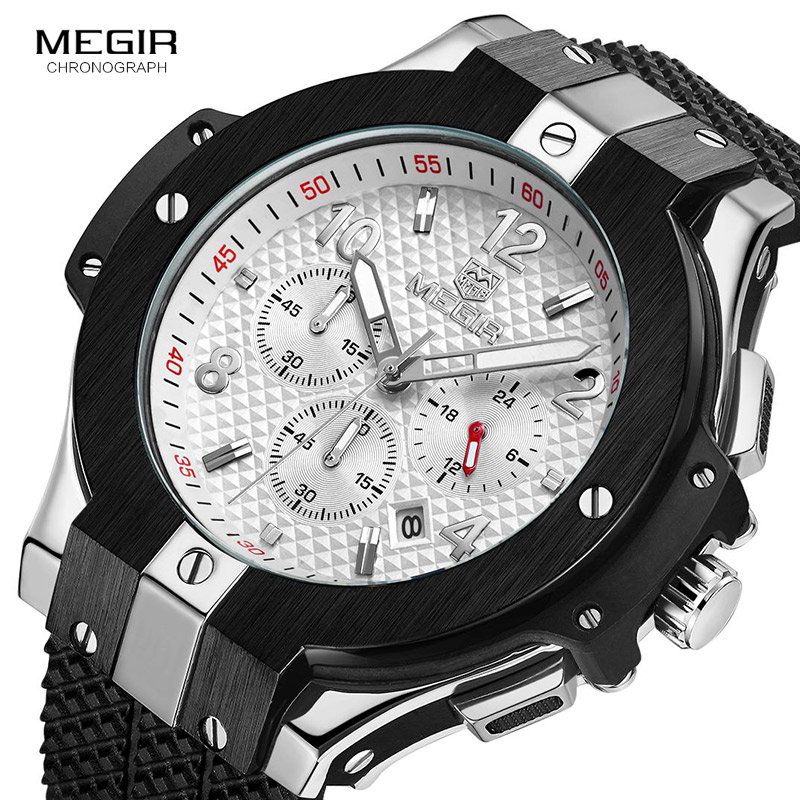 2019 MEGIR Black Leather Top Luxury Brand Fashion Quartz Mens Stainless Steel 3 Pointer  Movement Watch Business Sports Men's