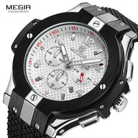 2019 MEGIR Black Leather Top luxury Brand Fashion Quartz Mens Stainless Steel 3 Pointer Movement Watch Business Sports men's