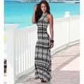 2016 Elegant Women Black White Long Striped Beach Maxi Dress Summer Boho Style Lady Sexy Design Evening Party Back Open Dresses